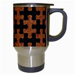 PUZZLE1 BLACK MARBLE & RUSTED METAL Travel Mugs (White) Right
