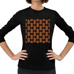 PUZZLE1 BLACK MARBLE & RUSTED METAL Women s Long Sleeve Dark T-Shirts Front