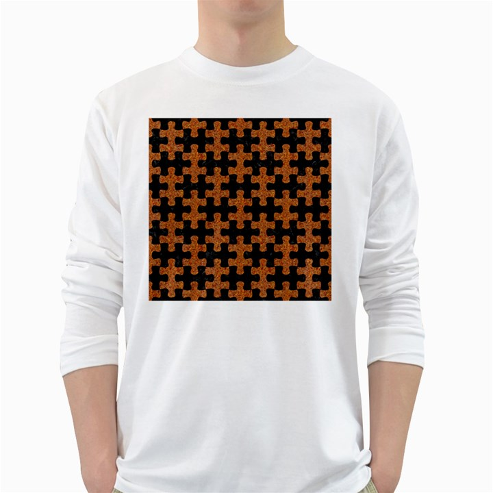 PUZZLE1 BLACK MARBLE & RUSTED METAL White Long Sleeve T-Shirts