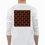 PUZZLE1 BLACK MARBLE & RUSTED METAL White Long Sleeve T-Shirts Back