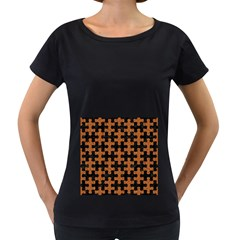 Puzzle1 Black Marble & Rusted Metal Women s Loose Fit T Shirt (black)