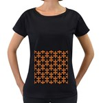 PUZZLE1 BLACK MARBLE & RUSTED METAL Women s Loose-Fit T-Shirt (Black) Front