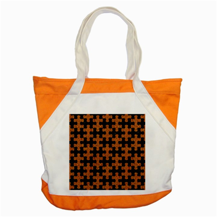 PUZZLE1 BLACK MARBLE & RUSTED METAL Accent Tote Bag