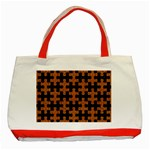 PUZZLE1 BLACK MARBLE & RUSTED METAL Classic Tote Bag (Red) Front