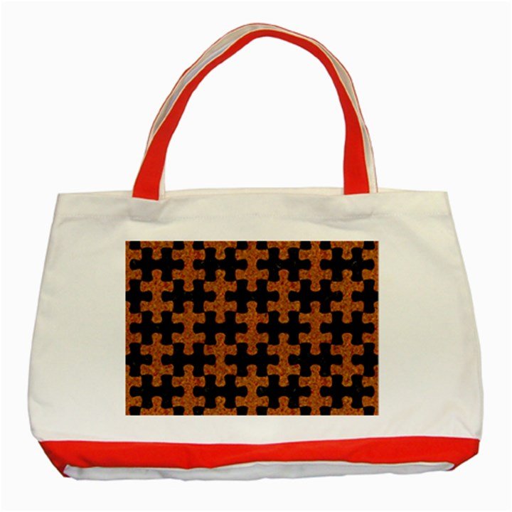 PUZZLE1 BLACK MARBLE & RUSTED METAL Classic Tote Bag (Red)