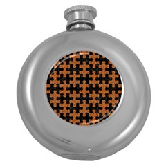 Puzzle1 Black Marble & Rusted Metal Round Hip Flask (5 Oz)
