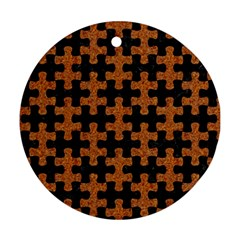 Puzzle1 Black Marble & Rusted Metal Round Ornament (two Sides)
