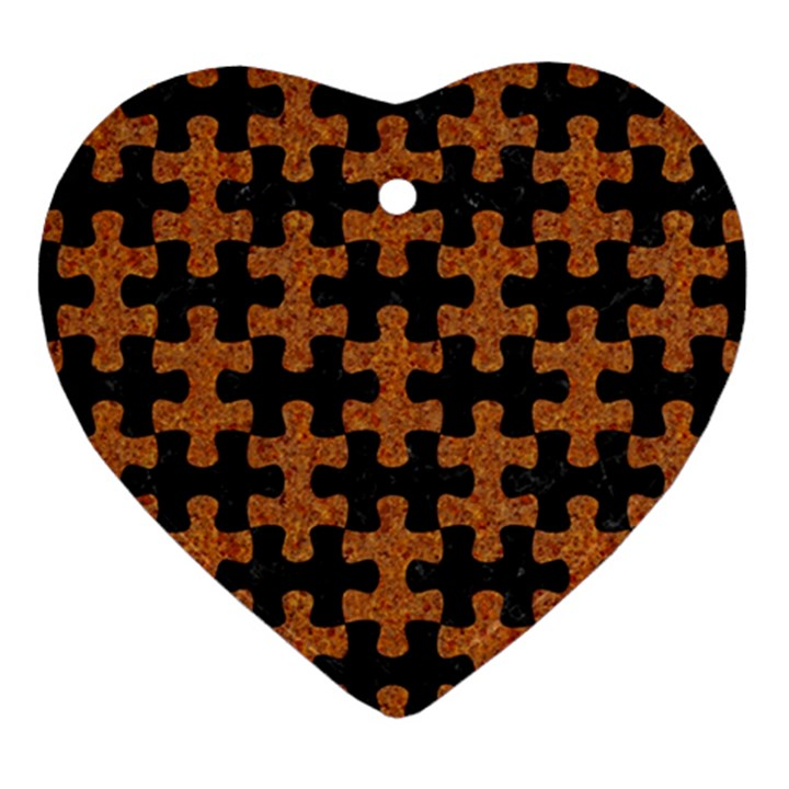 PUZZLE1 BLACK MARBLE & RUSTED METAL Heart Ornament (Two Sides)