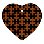 PUZZLE1 BLACK MARBLE & RUSTED METAL Heart Ornament (Two Sides) Back