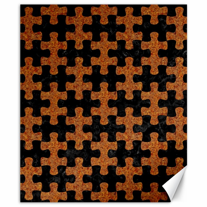 PUZZLE1 BLACK MARBLE & RUSTED METAL Canvas 8  x 10