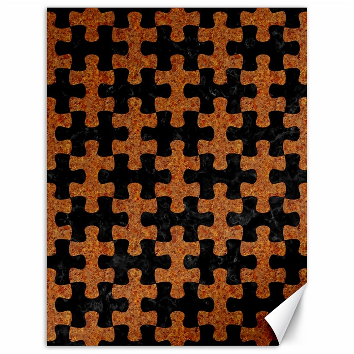 PUZZLE1 BLACK MARBLE & RUSTED METAL Canvas 12  x 16