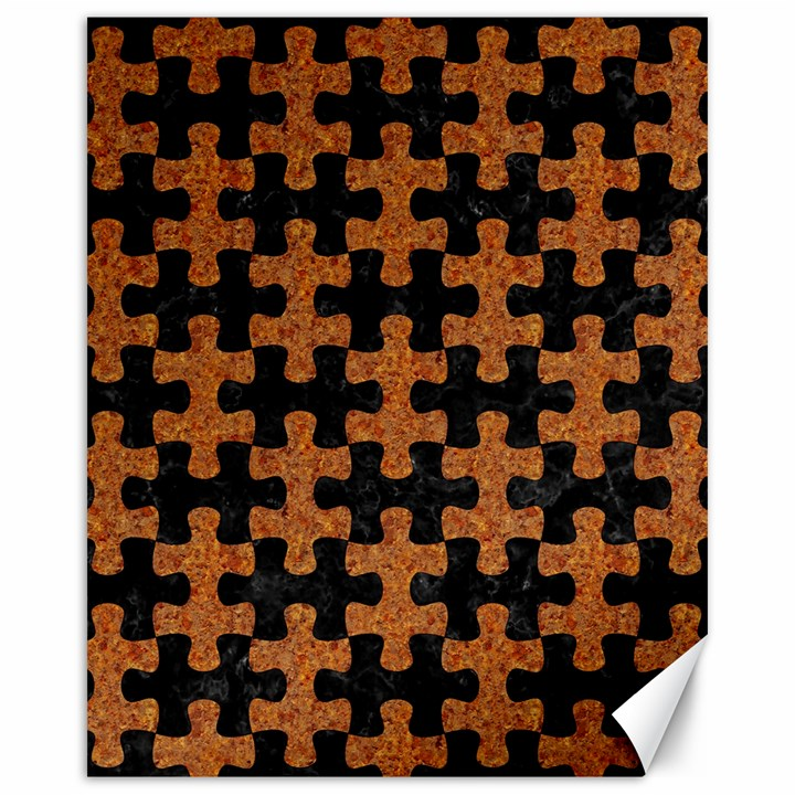 PUZZLE1 BLACK MARBLE & RUSTED METAL Canvas 16  x 20