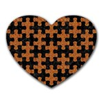 PUZZLE1 BLACK MARBLE & RUSTED METAL Heart Mousepads Front