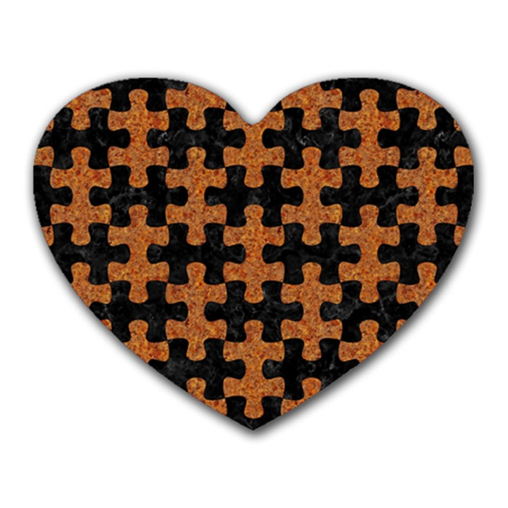 PUZZLE1 BLACK MARBLE & RUSTED METAL Heart Mousepads