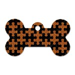 PUZZLE1 BLACK MARBLE & RUSTED METAL Dog Tag Bone (One Side) Front