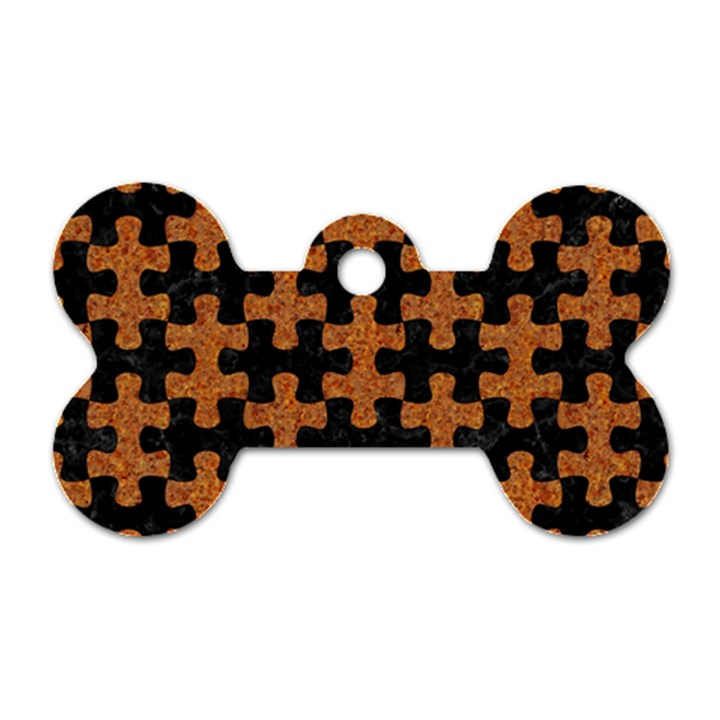 PUZZLE1 BLACK MARBLE & RUSTED METAL Dog Tag Bone (Two Sides)