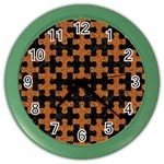 PUZZLE1 BLACK MARBLE & RUSTED METAL Color Wall Clocks Front