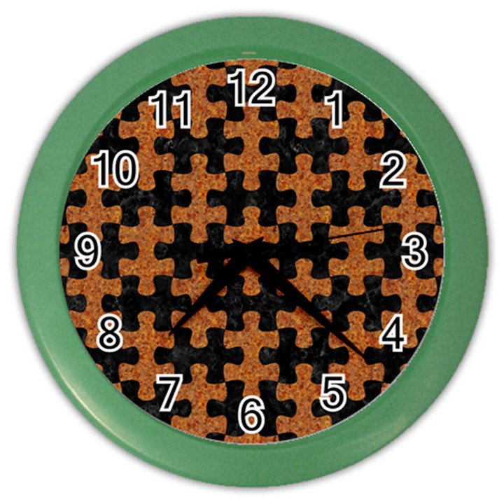 PUZZLE1 BLACK MARBLE & RUSTED METAL Color Wall Clocks
