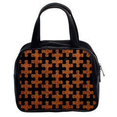 Puzzle1 Black Marble & Rusted Metal Classic Handbags (2 Sides)