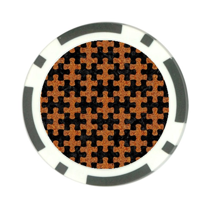 PUZZLE1 BLACK MARBLE & RUSTED METAL Poker Chip Card Guard (10 pack)