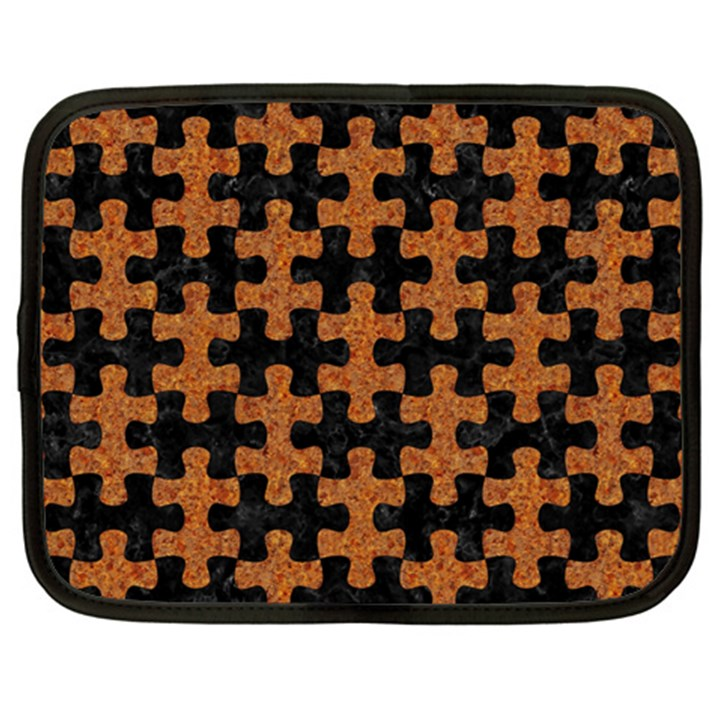 PUZZLE1 BLACK MARBLE & RUSTED METAL Netbook Case (XXL)