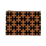 PUZZLE1 BLACK MARBLE & RUSTED METAL Cosmetic Bag (Large)  Front