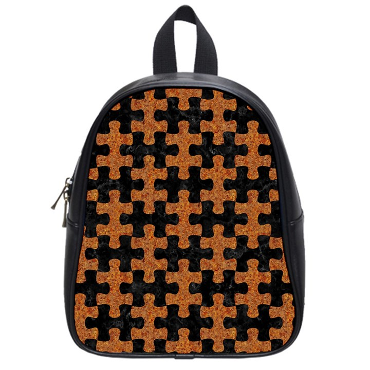 PUZZLE1 BLACK MARBLE & RUSTED METAL School Bag (Small)
