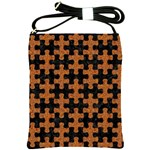 PUZZLE1 BLACK MARBLE & RUSTED METAL Shoulder Sling Bags Front