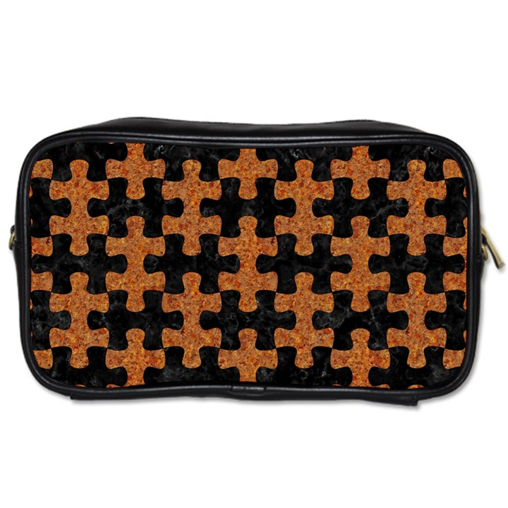 PUZZLE1 BLACK MARBLE & RUSTED METAL Toiletries Bags 2-Side