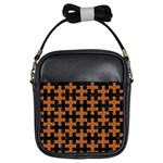 PUZZLE1 BLACK MARBLE & RUSTED METAL Girls Sling Bags Front