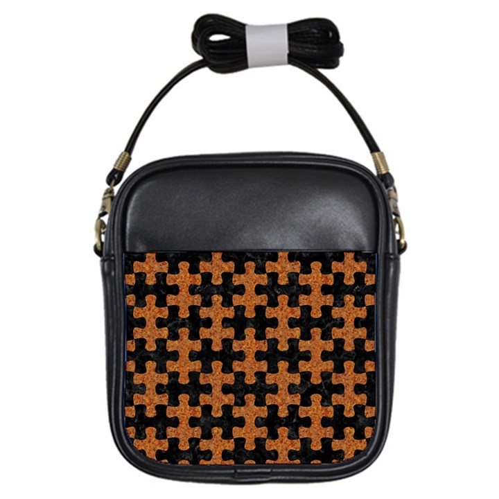 PUZZLE1 BLACK MARBLE & RUSTED METAL Girls Sling Bags