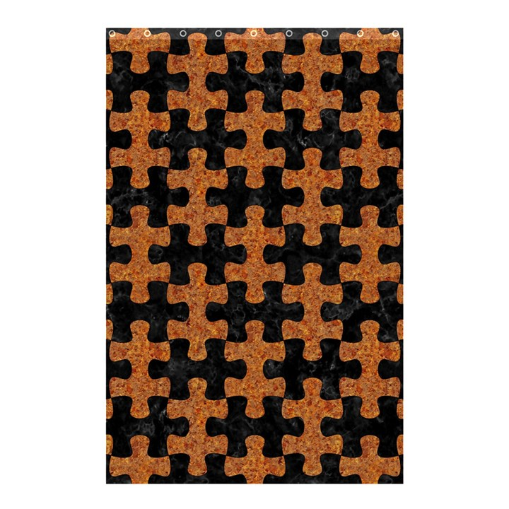 PUZZLE1 BLACK MARBLE & RUSTED METAL Shower Curtain 48  x 72  (Small)