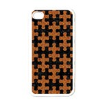 PUZZLE1 BLACK MARBLE & RUSTED METAL Apple iPhone 4 Case (White) Front