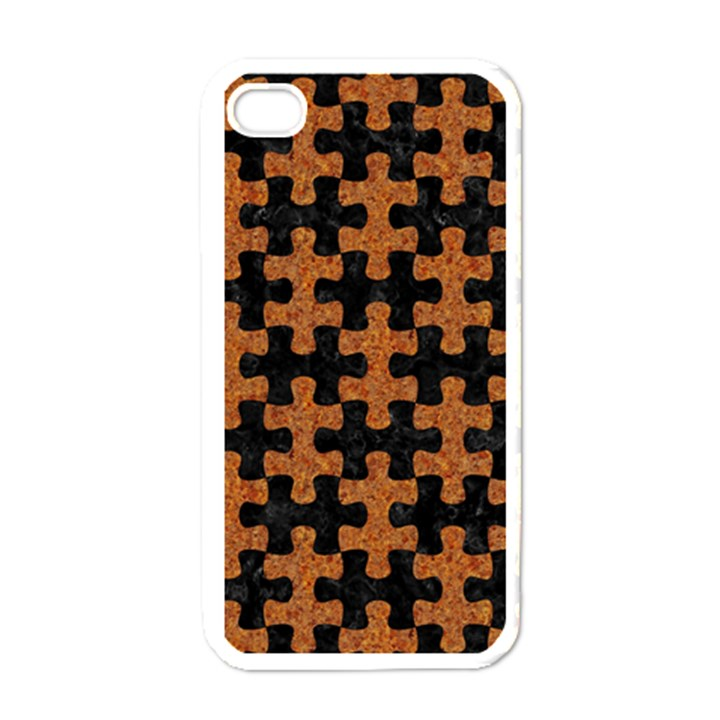 PUZZLE1 BLACK MARBLE & RUSTED METAL Apple iPhone 4 Case (White)