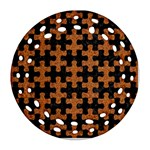 PUZZLE1 BLACK MARBLE & RUSTED METAL Ornament (Round Filigree) Front