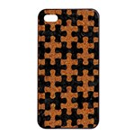 PUZZLE1 BLACK MARBLE & RUSTED METAL Apple iPhone 4/4s Seamless Case (Black) Front