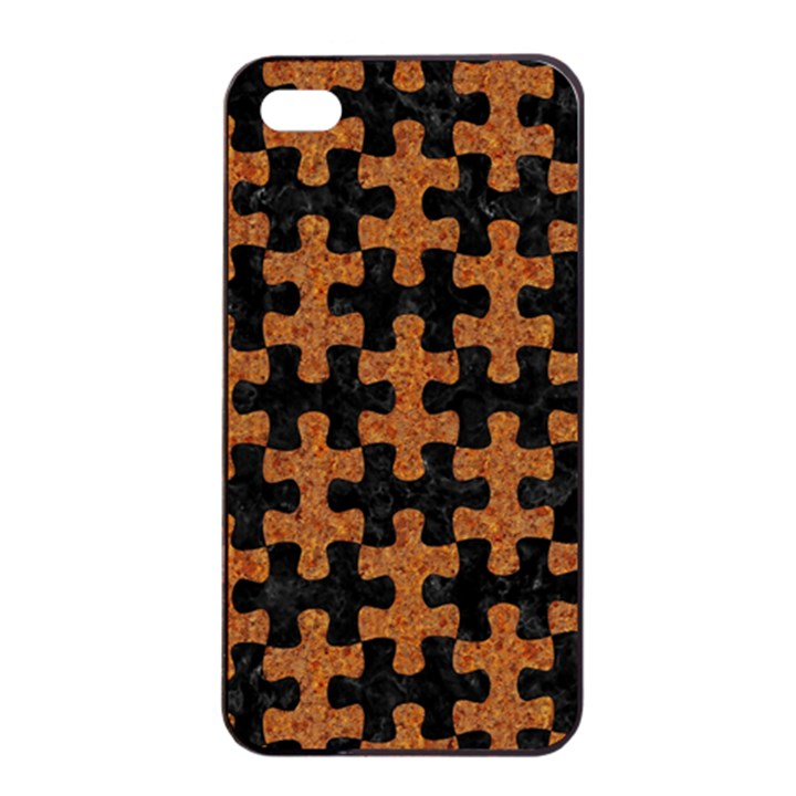 PUZZLE1 BLACK MARBLE & RUSTED METAL Apple iPhone 4/4s Seamless Case (Black)