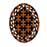 PUZZLE1 BLACK MARBLE & RUSTED METAL Ornament (Oval Filigree) Front