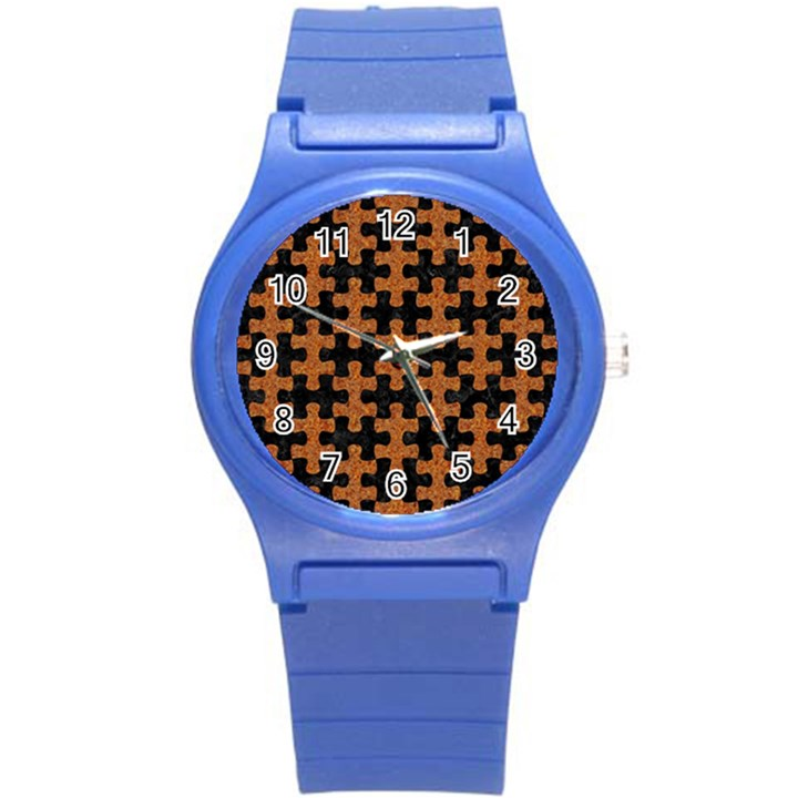 PUZZLE1 BLACK MARBLE & RUSTED METAL Round Plastic Sport Watch (S)