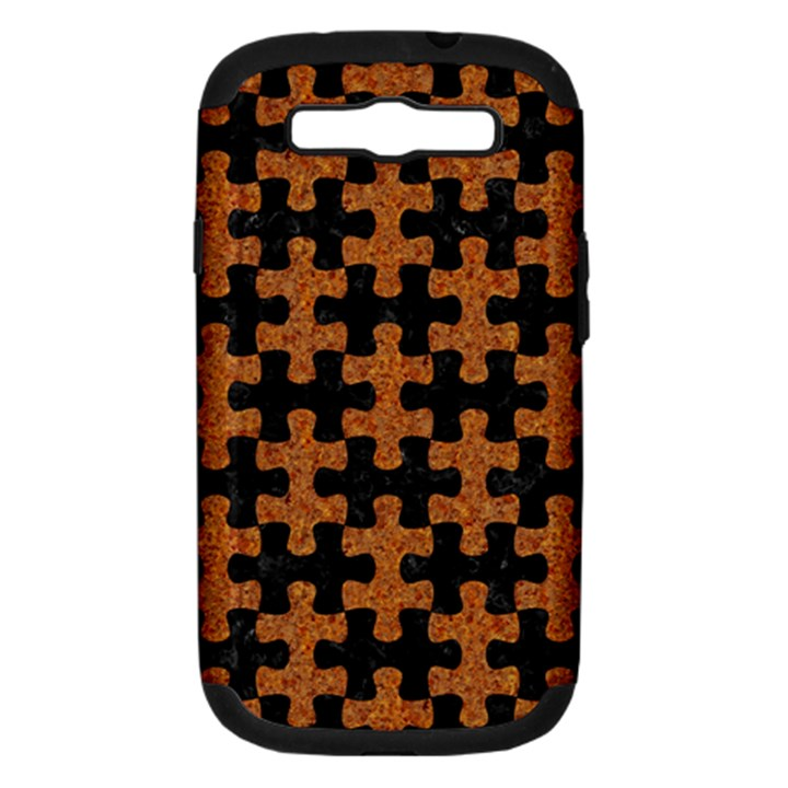 PUZZLE1 BLACK MARBLE & RUSTED METAL Samsung Galaxy S III Hardshell Case (PC+Silicone)