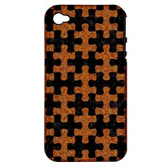 Puzzle1 Black Marble & Rusted Metal Apple Iphone 4/4s Hardshell Case (pc+silicone)