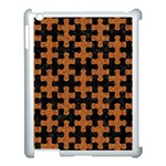 PUZZLE1 BLACK MARBLE & RUSTED METAL Apple iPad 3/4 Case (White) Front