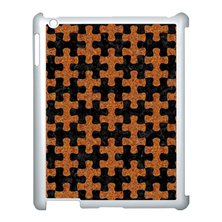 PUZZLE1 BLACK MARBLE & RUSTED METAL Apple iPad 3/4 Case (White)