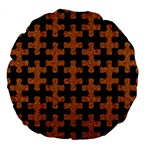 PUZZLE1 BLACK MARBLE & RUSTED METAL Large 18  Premium Round Cushions Front