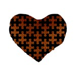 PUZZLE1 BLACK MARBLE & RUSTED METAL Standard 16  Premium Heart Shape Cushions Front