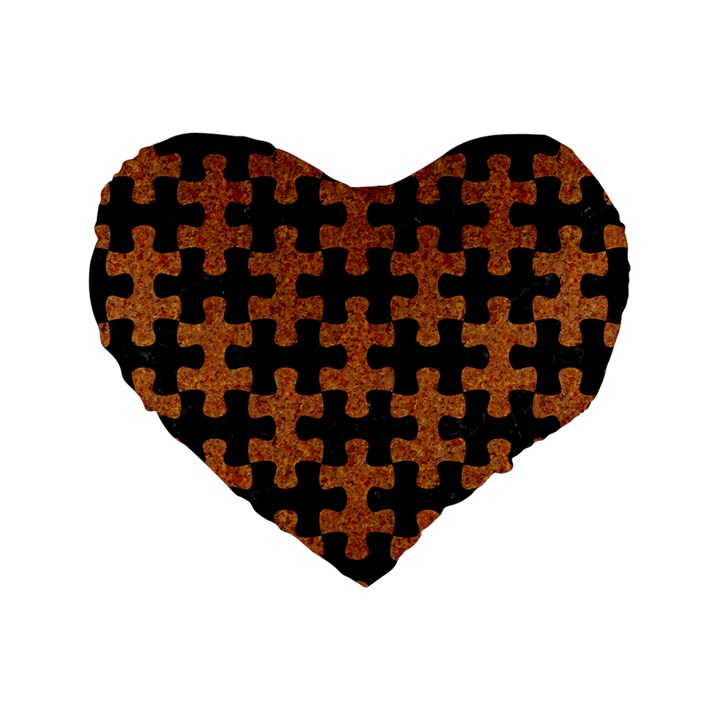 PUZZLE1 BLACK MARBLE & RUSTED METAL Standard 16  Premium Heart Shape Cushions