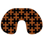 PUZZLE1 BLACK MARBLE & RUSTED METAL Travel Neck Pillows Back