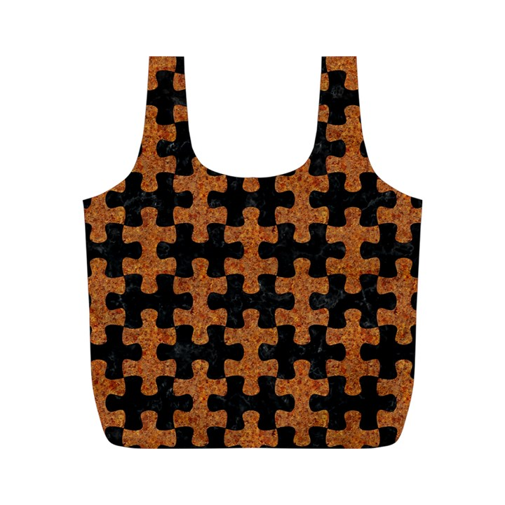 PUZZLE1 BLACK MARBLE & RUSTED METAL Full Print Recycle Bags (M)