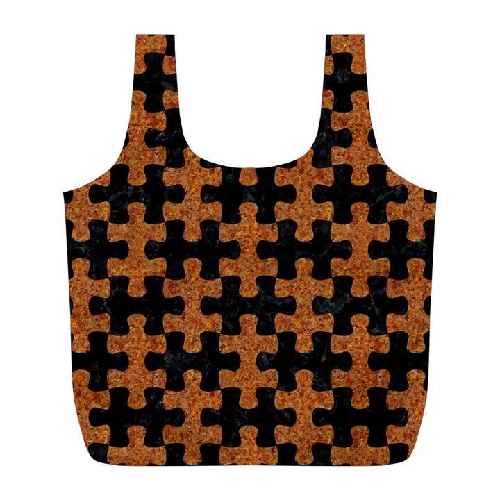 PUZZLE1 BLACK MARBLE & RUSTED METAL Full Print Recycle Bags (L)