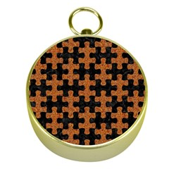 Puzzle1 Black Marble & Rusted Metal Gold Compasses